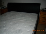 Leather king size bed & mattress
